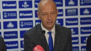 El presidente del Sabadell, Esteve Calzada, se acuerda de los socios.