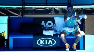 Rafa Nadal, durante un entrenamiento en Melbourne Park