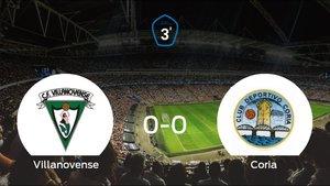 El Villanovense y el Coria firman las tablas tras empatar a cero
