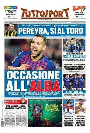 Portada de Tuttosport dedicada a Jordi Alba