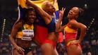 Alegría y felicidad en las medallistas del triple salto