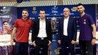 Andresito, Diego Giustozzi, Andreu Plaza y Esquerdinha, este viernes en Murcia