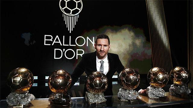 Así luce Messi con los seis Balones de Oro