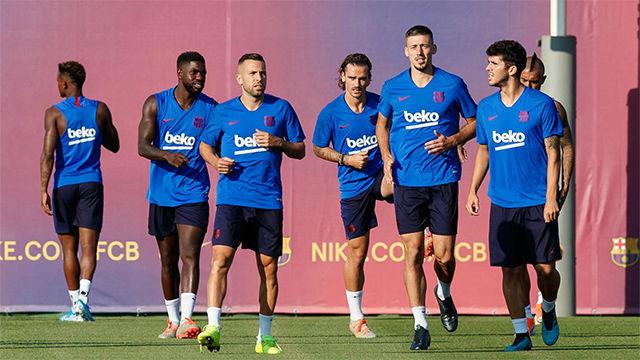 El Barça entrenó sin Leo Messi