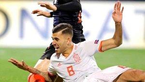 Dani Ceballos anotó uno de los goles de la selección española este jueves en Zagreb