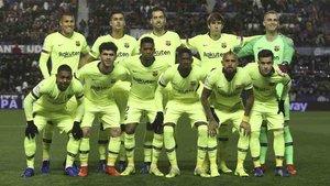 Este es el once titular del Barcelona ante el Levante
