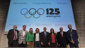 Foto de familia del acto celebrado en el Museu Olímpic i de lEsport