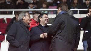 Josep Maria Bartomeu estuvo en el palco del Mini Estadi ante el Valladolid