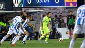 Leo Messi ha enviado un remate a la madera en el Leganés - FC Barcelona