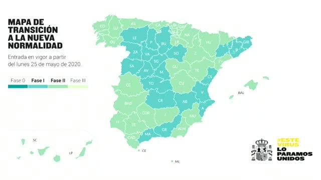 Nuevo mapa de la desescalada: media España en la fase 1 y el 47 % en la 2