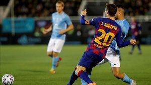 Sergi Roberto juega de central derecho con Quique Setién