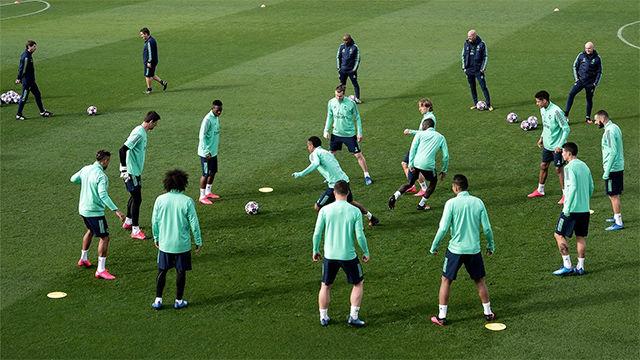 Último entrenamiento del Madrid antes del encuentro frente al City