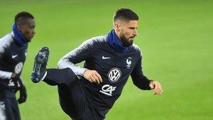 Giroud, en un entrenamiento con la selección francesa