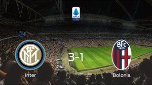 El Inter suma tres puntos tras vencer 3-1 al Bolonia