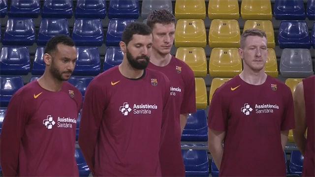 Jugadores del Barça de baloncesto guardan minuto de silencio en memoria de Kobe Bryant