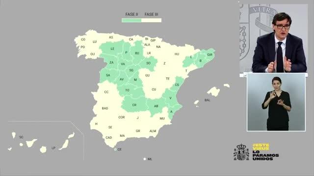Las provincias y regiones que cambian de Fase de la desescalada el 8 de junio