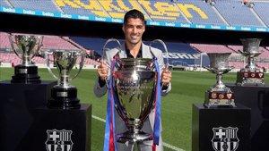Luis Suárez, en su despedida del Camp Nou