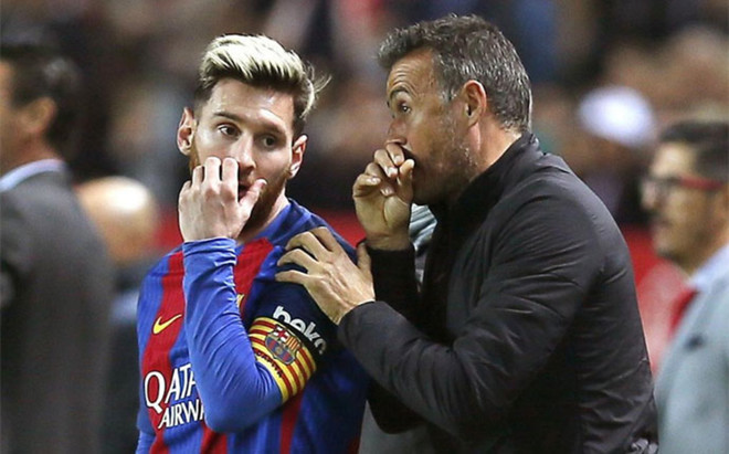 Image result for Luis Enrique with Lionel Messi