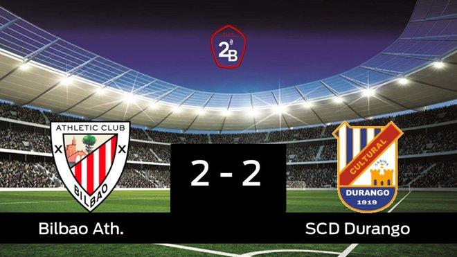 Reparto de puntos entre el Bilbao Ath. y el Durango, el marcador final fue 2-2