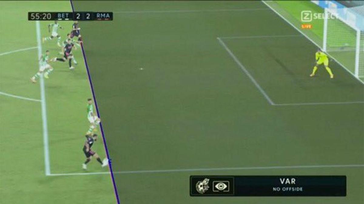 El VAR no consideró que Benzema estuviera en fuera de juego y el gol subió al marcador