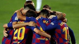 El Barça buscará formar una nueva piña para celebrar el gol 100 de esta temporada en partido oficial. Esta a solo uno del centenar