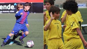 Daniel Ávila, de azulgrana en la Media Gol Cup. A la derecha, Yago, con el pelo largo, y Adri (que también ha probado en el Barça), con el CD Laguna