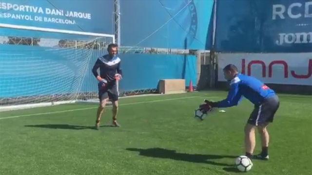 Diego López volvió a entrenarse con el Espanyol