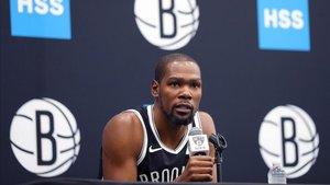 Durant, durante un acto con los Nets