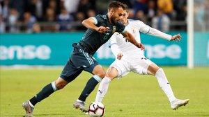Germán Pezzella, aquí jugando con Argentina, en la recta final de su curación
