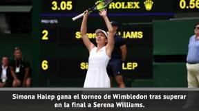 Halep arrolla a Serena Williams (6-2, 6-2) y conquista Wimbledon