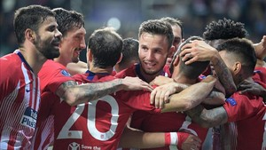 Los jugadores del Atlético de Madrid celebraron el título por todo lo alto