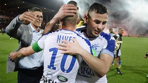 Los jugadores del Troyes, celebrando el ascenso