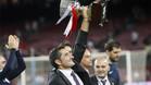 Valverde celebró el título sobre el césped del Camp Nou