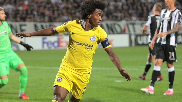 Willian culminó una jugada colectiva para dar la victoria al Chelsea