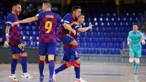 El Barça celebra uno de los goles ante el Pescados Rubén Burela