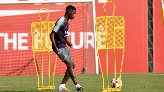 Dembélé regresó antes de tiempo a los entrenamientos