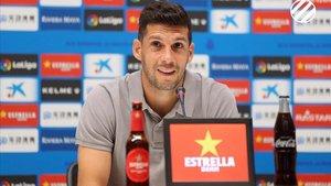 Javi López en la rueda de premsa de despedida del RCD Espanyol