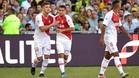 Jovetic y Rony Lopes se felicitan tras el primer tanto de los monegascos