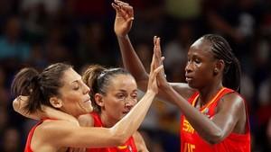 Las jugadoras españolas celebran una victoria