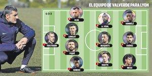 La posible alineación de Valverde para el Olympique de Lyon-FC Barcelona de los octavos de la Champions 2018/19