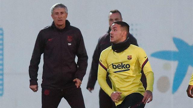 Rey Manaj entrena con el primer equipo antes de jugar contra el Leganés en Copa
