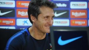 El técnico de Boca Juniors, durante su rueda de prensa en Barcelona