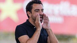 Xavi Hernández dirigió en Palamós su primer partido como entrenador