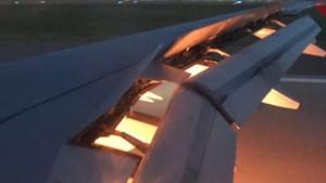 Así quedó el ala al incendiarse uno de los motores del avión