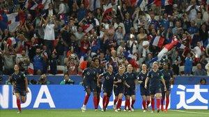 Francia celebra un gol ante Noruega