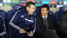 Juan Carlos Unzué y Luis Enrique Martínez en los prolegómenos del Celta-Espanyol de la Liga 2013/14