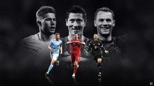 Kevin De Bruyne, Robert Lewandowski y Manuel Neuer son los tres candidatos de la UEFA a Jugador del Año