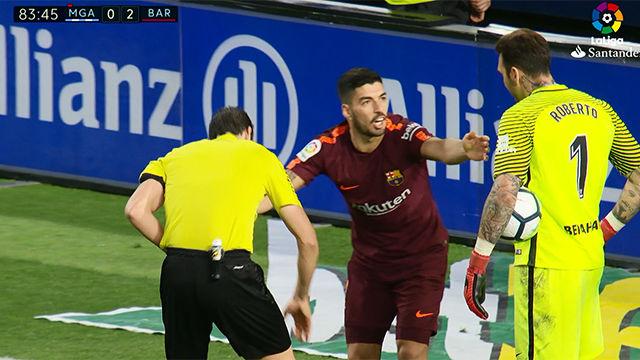 LALIGA | Málaga - FC Barcelona (0-2): La quinta amarilla de Luis Suárez