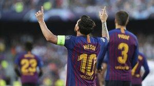 Leo Messi celebra su hat-trick en la primera jornada de la Champions 2018-19 ante el PSV