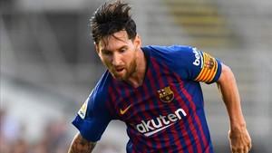 Leo Messi durante el partido en Anoeta